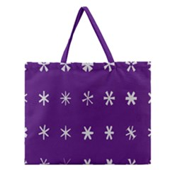 Purple Flower Floral Star White Zipper Large Tote Bag by Mariart