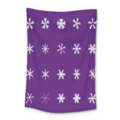 Purple Flower Floral Star White Small Tapestry by Mariart