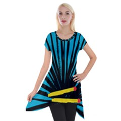 Match Cover Matches Short Sleeve Side Drop Tunic by Mariart