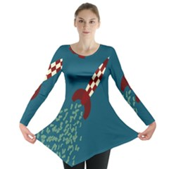 Rocket Ship Space Blue Sky Red White Fly Long Sleeve Tunic  by Mariart