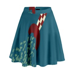 Rocket Ship Space Blue Sky Red White Fly High Waist Skirt by Mariart