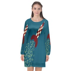 Rocket Ship Space Blue Sky Red White Fly Long Sleeve Chiffon Shift Dress