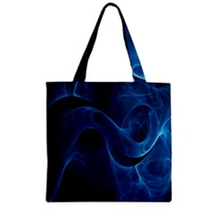 Smoke White Blue Zipper Grocery Tote Bag by Mariart