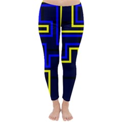 Tron Light Walls Arcade Style Line Yellow Blue Classic Winter Leggings by Mariart