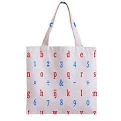Source Serif Number Zipper Grocery Tote Bag by Mariart