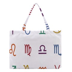 Twelve Signs Zodiac Color Star Medium Tote Bag by Mariart