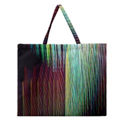 Screen Shot Line Vertical Rainbow Zipper Large Tote Bag by Mariart