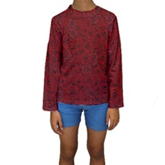Red Roses Field Kids  Long Sleeve Swimwear