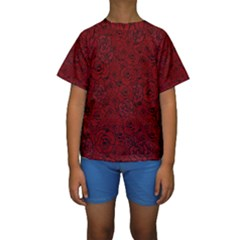 Red Roses Field Kids  Short Sleeve Swimwear