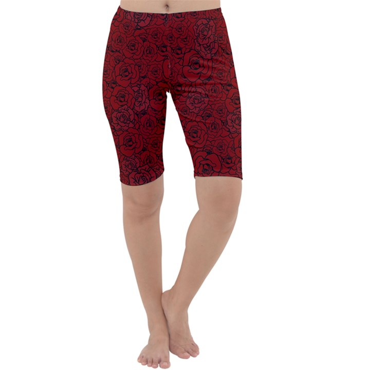 Red Roses Field Cropped Leggings