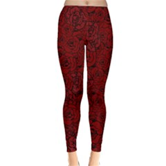 Red Roses Field Classic Winter Leggings