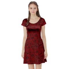 Red Roses Field Short Sleeve Skater Dress