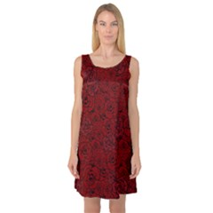 Red Roses Field Sleeveless Satin Nightdress
