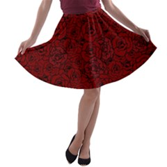 Red Roses Field A Line Skater Skirt