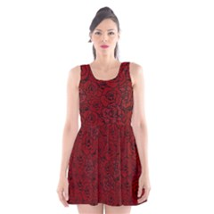 Red Roses Field Scoop Neck Skater Dress
