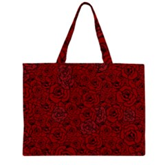 Red Roses Field Zipper Large Tote Bag