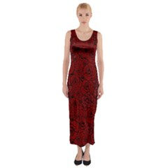 Red Roses Field Fitted Maxi Dress