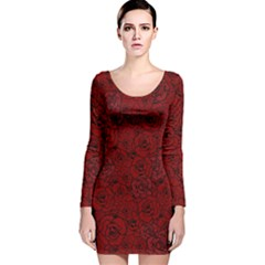Red Roses Field Long Sleeve Velvet Bodycon Dress