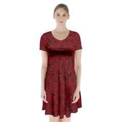 Red Roses Field Short Sleeve V Neck Flare Dress