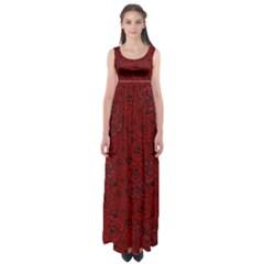 Red Roses Field Empire Waist Maxi Dress