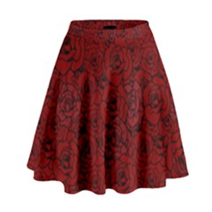 Red Roses Field High Waist Skirt