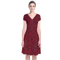 Red Roses Field Short Sleeve Front Wrap Dress
