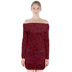 Red Roses Field Long Sleeve Off Shoulder Dress