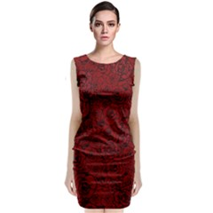 Red Roses Field Sleeveless Velvet Midi Dress