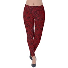 Red Roses Field Velvet Leggings