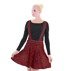 Red Roses Field Suspender Skater Skirt