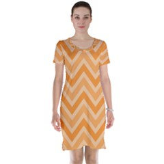 Zigzag  Pattern Short Sleeve Nightdress