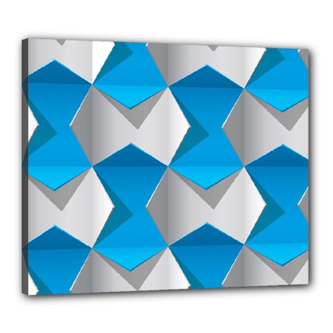Blue White Grey Chevron Canvas 24  X 20  by Mariart