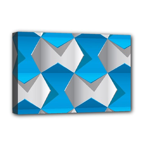 Blue White Grey Chevron Deluxe Canvas 18  X 12   by Mariart