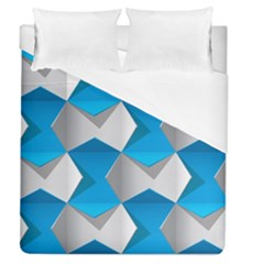 Blue White Grey Chevron Duvet Cover (queen Size) by Mariart