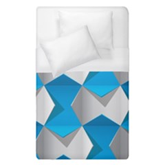 Blue White Grey Chevron Duvet Cover (Single Size) by Mariart