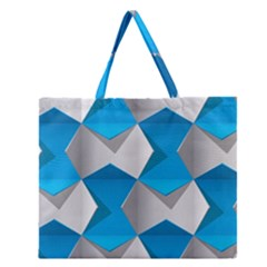 Blue White Grey Chevron Zipper Large Tote Bag by Mariart