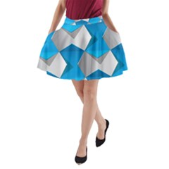 Blue White Grey Chevron A Line Pocket Skirt by Mariart