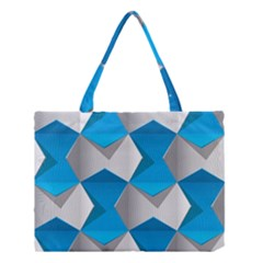 Blue White Grey Chevron Medium Tote Bag by Mariart