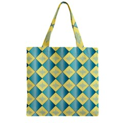Yellow Blue Diamond Chevron Wave Zipper Grocery Tote Bag by Mariart