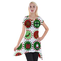Christmas Short Sleeve Side Drop Tunic by Mariart