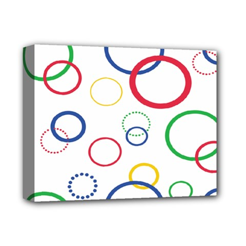 Circle Round Green Blue Red Pink Yellow Deluxe Canvas 14  X 11  by Mariart