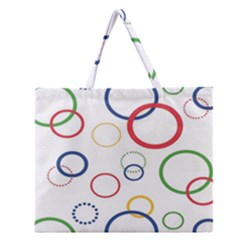 Circle Round Green Blue Red Pink Yellow Zipper Large Tote Bag by Mariart