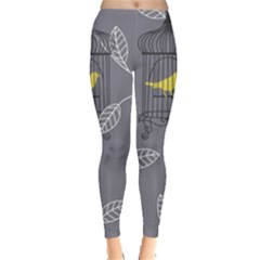 Cagr Bird Leaf Grey Yellow Leggings  by Mariart