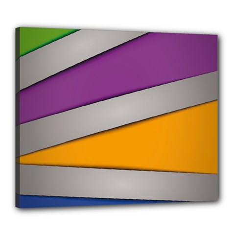 Colorful Geometry Shapes Line Green Grey Pirple Yellow Blue Canvas 24  X 20  by Mariart