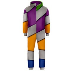 Colorful Geometry Shapes Line Green Grey Pirple Yellow Blue Hooded Jumpsuit (Men)