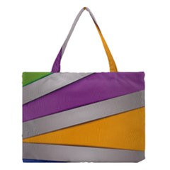 Colorful Geometry Shapes Line Green Grey Pirple Yellow Blue Medium Tote Bag by Mariart