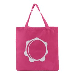 Circle White Pink Grocery Tote Bag by Mariart