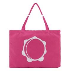 Circle White Pink Medium Tote Bag by Mariart