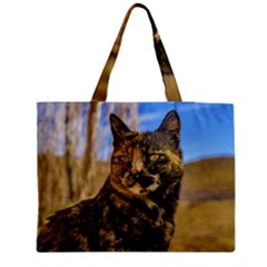 Adult Wild Cat Sitting And Watching Medium Tote Bag by dflcprints