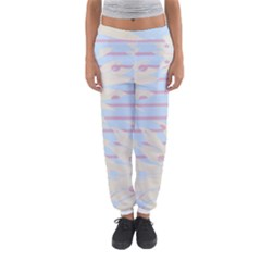 Flower Floral Sunflower Line Horizontal Pink White Blue Women s Jogger Sweatpants